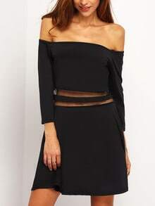 Black Off the Shoulder Sheer Mesh Slim Dress