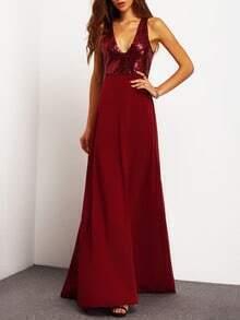 Burgundy Deep V Neck Sequined Maxi Dress