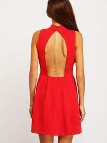 Red High Neck Open Back Dress