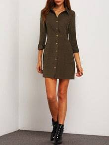Army Green Lapel Pockets Dress