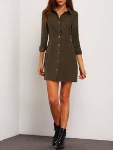 Army Green Lapel Pockets Dress