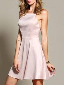 Pink Blush Spaghetti Strap Zipper Flare Dress