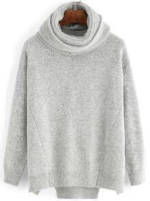 Grey Long Sleeve Loose Sweater With Scarve