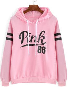 Pink Drawstring Hooded Letters Print Sweatshirt