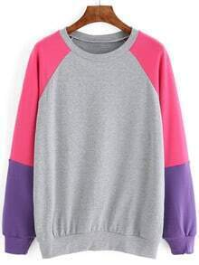 Colour-block Round Neck Loose Sweatshirt