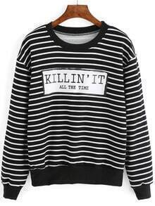 Black White Letters Print Striped Sweatshirt