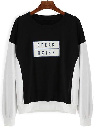 Black White Letters Print Crop Sweatshirt