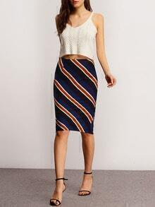 Navy Diagonal Striped Pencil Skirt