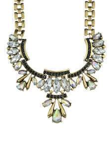 Antique Gold Plated Women Statement Stone Necklace