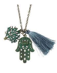 New Fashion Leaf Hand Shape Tassel Long Fancy Necklace