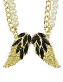 Black Rhinestone Wing Shape Pendant Women Necklace