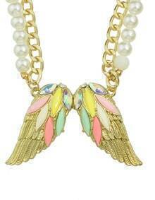 Colorful Rhinestone Wing Shape Pendant Women Necklace