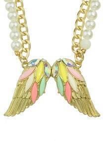 Colorful Rhinestone Wing Shape Pendant Women Necklace