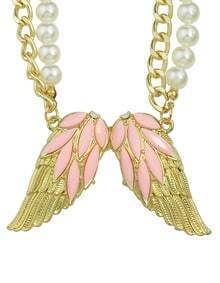 Pink Rhinestone Wing Shape Pendant Women Necklace