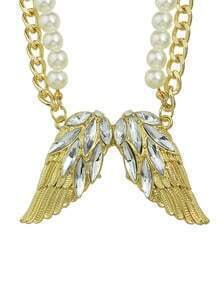 White Rhinestone Wing Shape Pendant Women Necklace
