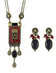 Ethnic Vintage Style Atgold Long Pendant Necklace Stud Earrings Indian Jewelry Set