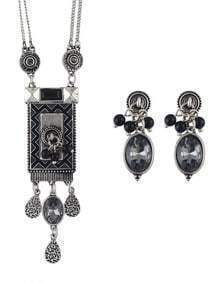 Ethnic Vintage Style Atsilver Long Pendant Necklace Stud Earrings Indian Jewelry Set