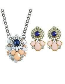Multicolors Imitation Gemstone Necklace Earrings Set