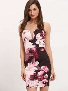 Black Spaghetti Strap Floral Sheath Dress
