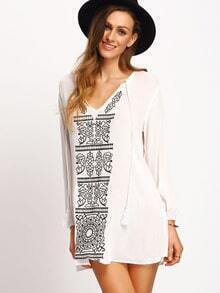 Beige Lace Up Neck Tribal Print Dress