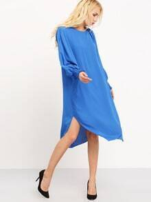 Blue Batwing Sleeve Asymmetric Dress