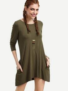 Green Boat Neck Keyhole Back Pockets Dress