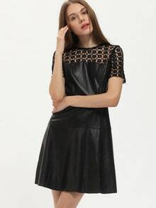 Black PU Leather A Line Dress With Lace
