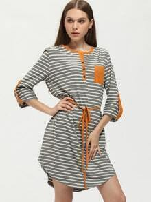Grey Striped Color Block Trims Dress