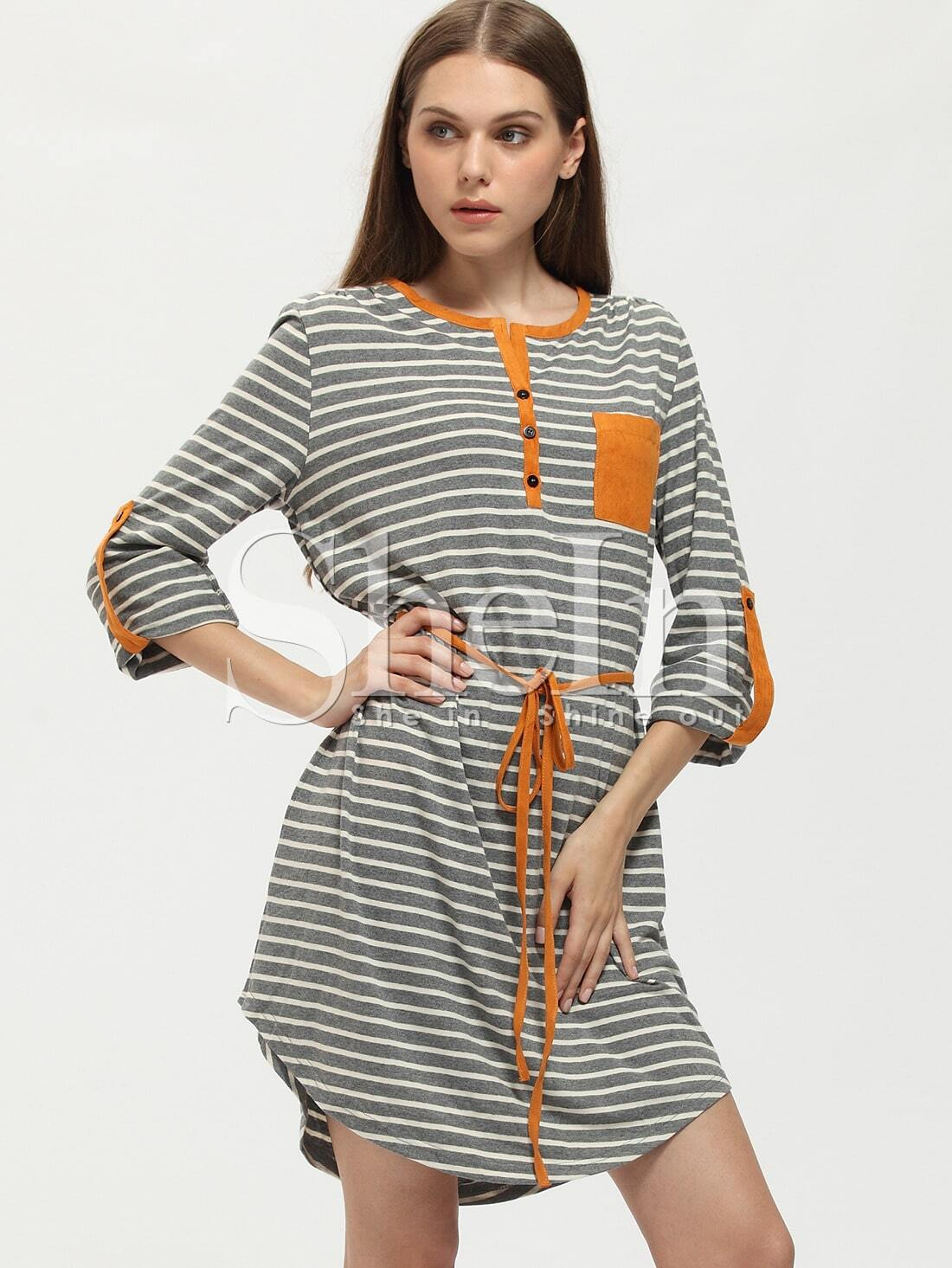 Grey Striped Color Block Trims Dress dress151229710