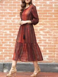 Red Print Pleated Midi Dress