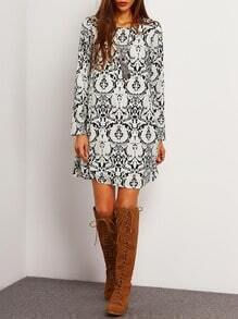 White Folk Print Shift Dress