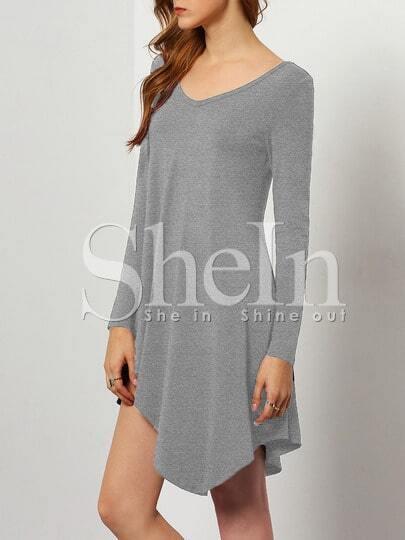 Grey V Neck Asymmetric Dress