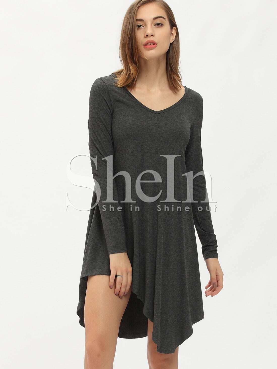 Фото V Neckline Asymmetrical Hem Dress. Купить с доставкой