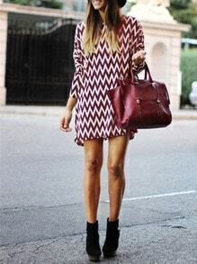 Burgundy Zag Print Shift Dress