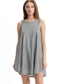 Grey Sleeveless Tie Back Keyhole Dress