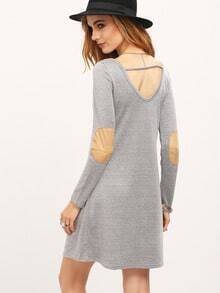 Grey Cut Out Back Elbow Patch Dress