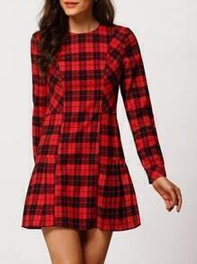 Red Plaid Crew Neck A Line Dress