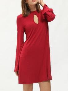 Red Mock Neck Keyhole Front Dress
