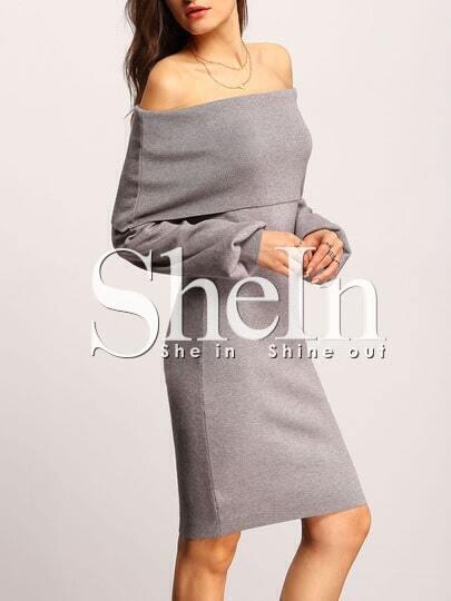 Grey Off The Shoulder Fold Over Sheath Dress
