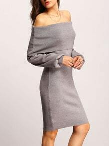 Grey Off The Shoulder Fold Over Sheath Dress