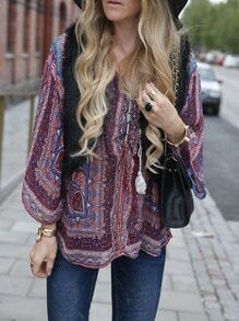 Folk Print Lace Up Neck Blouse