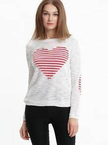 White Heart Print Elbow Patch T-Shirt