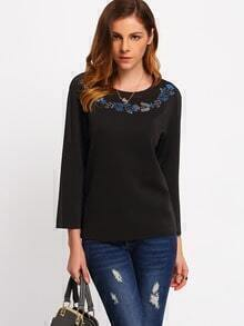 Black Crew Neck Floral Embroidered T-Shirt