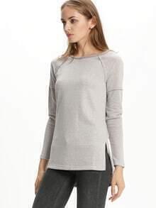 Grey Crew Neck Side Slit T-Shirt
