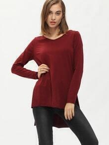 Burgundy Side Slit Dip Hem T-Shirt