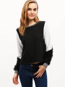 Black Color Block Embellished Sweatshirt