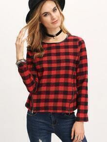 Red Plaid Crew Neck Zipper Sweatshirt