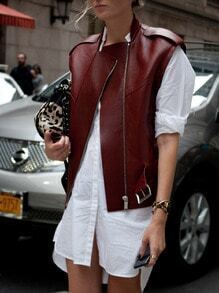 Burgundy Sleeveless Stand Collar PU Leather Jacket