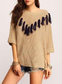 Grey Crew Neck Contrast Fringe Sweater