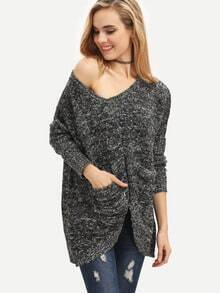 Grey Pockets Asymmetric Sweater
